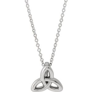 "14K White Celtic-Inspired Trinity 16-18"" Necklace"
